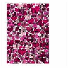 Hearts And Checks, Pink Large Garden Flag (Two Sides)
