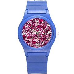 Hearts And Checks, Pink Round Plastic Sport Watch (S)