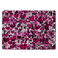 Hearts And Checks, Pink Cosmetic Bag (XXL)