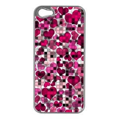 Hearts And Checks, Pink Apple iPhone 5 Case (Silver)