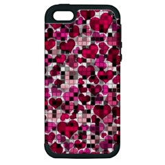 Hearts And Checks, Pink Apple iPhone 5 Hardshell Case (PC+Silicone)