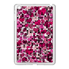 Hearts And Checks, Pink Apple iPad Mini Case (White)