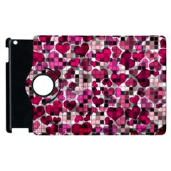 Hearts And Checks, Pink Apple iPad 3/4 Flip 360 Case