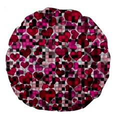Hearts And Checks, Pink Large 18  Premium Round Cushions