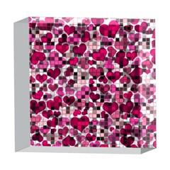 Hearts And Checks, Pink 5  x 5  Acrylic Photo Blocks