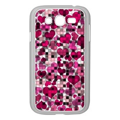 Hearts And Checks, Pink Samsung Galaxy Grand DUOS I9082 Case (White)