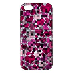 Hearts And Checks, Pink iPhone 5S Premium Hardshell Case