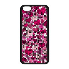 Hearts And Checks, Pink Apple iPhone 5C Seamless Case (Black)