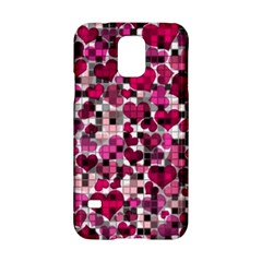 Hearts And Checks, Pink Samsung Galaxy S5 Hardshell Case