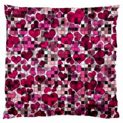 Hearts And Checks, Pink Standard Flano Cushion Cases (Two Sides)