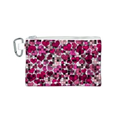 Hearts And Checks, Pink Canvas Cosmetic Bag (S)