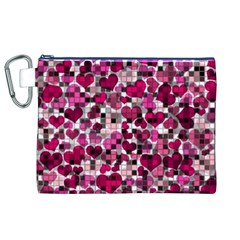 Hearts And Checks, Pink Canvas Cosmetic Bag (XL)