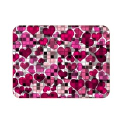 Hearts And Checks, Pink Double Sided Flano Blanket (Mini)