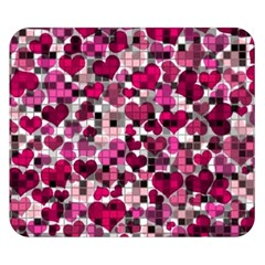 Hearts And Checks, Pink Double Sided Flano Blanket (small)
