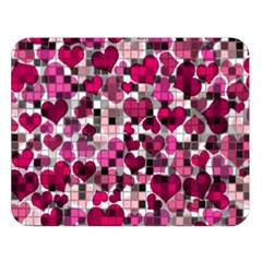 Hearts And Checks, Pink Double Sided Flano Blanket (Large)
