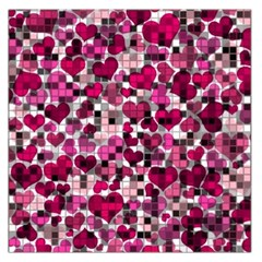 Hearts And Checks, Pink Large Satin Scarf (square)