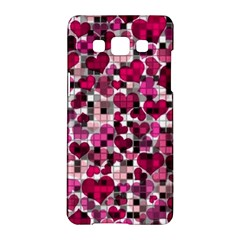 Hearts And Checks, Pink Samsung Galaxy A5 Hardshell Case