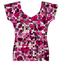 Hearts And Checks, Pink Women s V-Neck Cap Sleeve Top