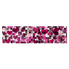 Hearts And Checks, Pink Satin Scarf (Oblong)