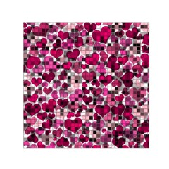 Hearts And Checks, Pink Small Satin Scarf (Square)