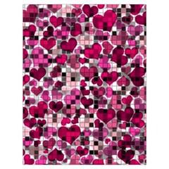 Hearts And Checks, Pink Drawstring Bag (Large)
