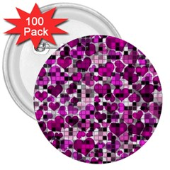 Hearts And Checks, Purple 3  Buttons (100 Pack)