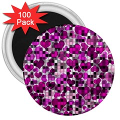 Hearts And Checks, Purple 3  Magnets (100 Pack)