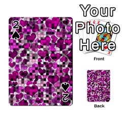 Hearts And Checks, Purple Playing Cards 54 Designs