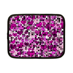 Hearts And Checks, Purple Netbook Case (Small)