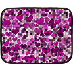Hearts And Checks, Purple Fleece Blanket (Mini)