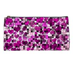Hearts And Checks, Purple Pencil Cases