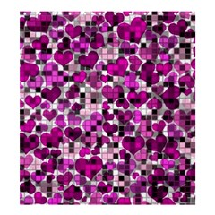 Hearts And Checks, Purple Shower Curtain 66  x 72  (Large)