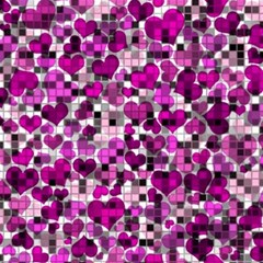 Hearts And Checks, Purple Magic Photo Cubes
