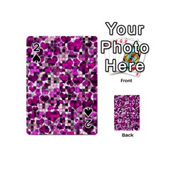 Hearts And Checks, Purple Playing Cards 54 (mini)