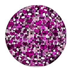Hearts And Checks, Purple Round Filigree Ornament (2side)