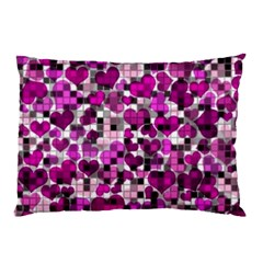 Hearts And Checks, Purple Pillow Cases (two Sides)