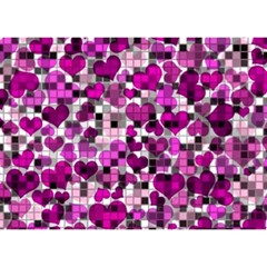 Hearts And Checks, Purple Birthday Cake 3D Greeting Card (7x5)