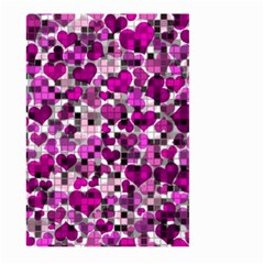 Hearts And Checks, Purple Large Garden Flag (Two Sides)