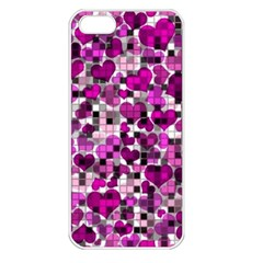 Hearts And Checks, Purple Apple iPhone 5 Seamless Case (White)