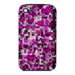 Hearts And Checks, Purple Apple iPhone 3G/3GS Hardshell Case (PC+Silicone)