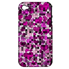 Hearts And Checks, Purple Apple iPhone 4/4S Hardshell Case (PC+Silicone)