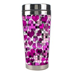 Hearts And Checks, Purple Stainless Steel Travel Tumblers