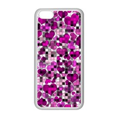 Hearts And Checks, Purple Apple iPhone 5C Seamless Case (White)