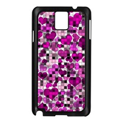 Hearts And Checks, Purple Samsung Galaxy Note 3 N9005 Case (Black)