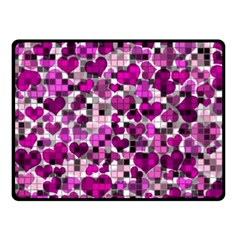 Hearts And Checks, Purple Double Sided Fleece Blanket (small)