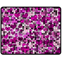 Hearts And Checks, Purple Double Sided Fleece Blanket (Medium)