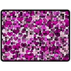 Hearts And Checks, Purple Double Sided Fleece Blanket (Large)
