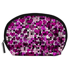Hearts And Checks, Purple Accessory Pouches (Large)