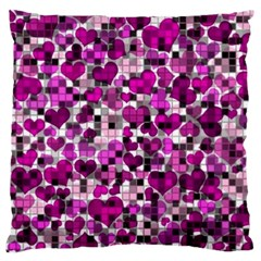 Hearts And Checks, Purple Large Flano Cushion Cases (Two Sides)