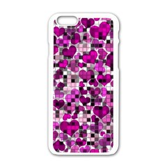Hearts And Checks, Purple Apple iPhone 6 White Enamel Case